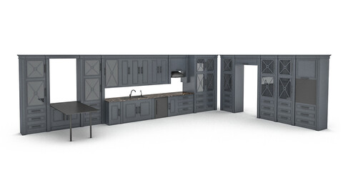 ready-made modern kitchen 3D model