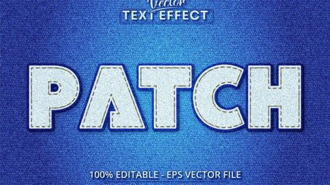Patch text, realistic denim style editable text effect