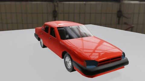 Basic Car - Red - Carro Low-poly 3D model
