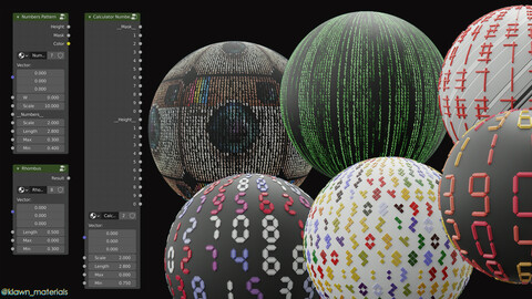 6in1 Procedural Numbers Shaders For Blender