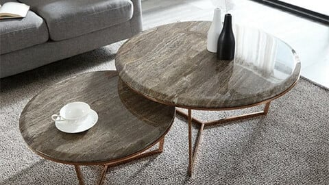 Natural Marble Rose Gold Round Sofa Living Room Table Sardin