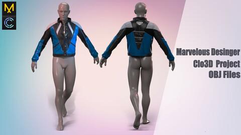 Motorcycle jacket / Marvelous Desinger/Clo3D Project+OBJ File + FBX
