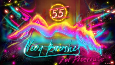Neon Brush Set | 55 MarMirArt Neon Brushes For Procreate | Glowing | Shining | Blinding | Lights | Calligraphy