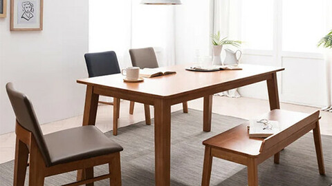 Henna M rubber wood solid wood dining table set A for 6