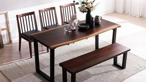Raintree wood slab dining table set for 6