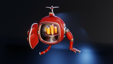 Rigged Refridgerator Robot Using Blender 2.9
