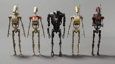 Star wars Battle Droids Low-poly 3D model