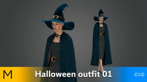 Halloween outfit witch 01 Marvelous Designer, CLO3D, Obj