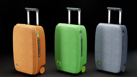 Luggage, Travel Suitcase Mark (polygonal 3D model with PBR textures)