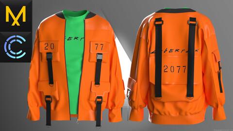 New concept Marvelous Clo3D Cyberpunk Jacket male OBJ FBx