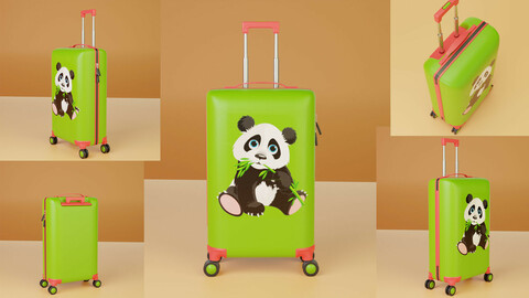 Luggage, Children travel suitcase Panda (polygonal 3D model with PBR textures)