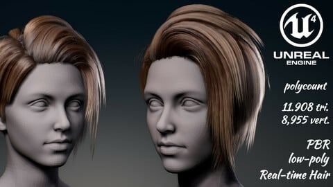 Real-time woman hair Low-poly