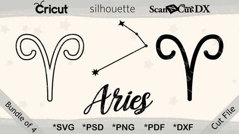 Aries Zodiac Icons and Constellation Cut File Bundle svg, png, pdf, dxf, pdf, Astrology Clipart, Cricut, Silhouette, Outline, Decal File