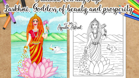 Laskhmi, Goddess of beauty and prosperity printable coloring page, digital stamp, coloring drawing,