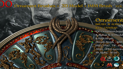 100 Ornament Brushes + 3D Model + IMM Brush Vol 04