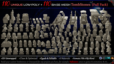 110 Practical and Unique Low-Poly Tombstones + 110 Base mesh Tombstones (Full Pack) - Vol 1