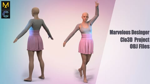 Light outfit /Marvelous Desinger/Clo3D Project+OBJ File+ FBX