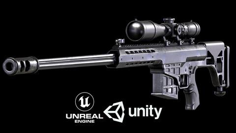 Barret M98B Sniper Rifle PBR Low-poly 3D model