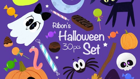 Halloween cute Characters and clipart