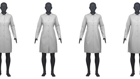 Women's classic coat in 4 different fit/sizes CLO3D