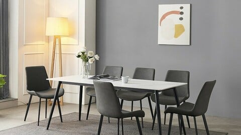 Shelton Ceramic Dining Table Set for 6