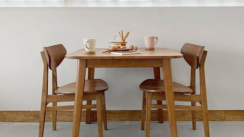 Rustic solid wood dining table set for two people 800