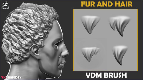 Hair and Fur VDM Brush for ZBrush