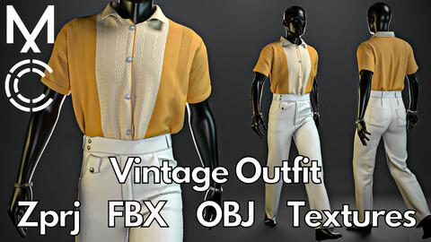 Marvelous Designer + Clo3d + OBJ + FBX + Texture : Vintage outfit No.1