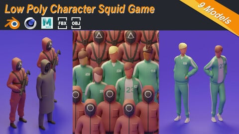 Low Poly Character Squid Game Illustration Set