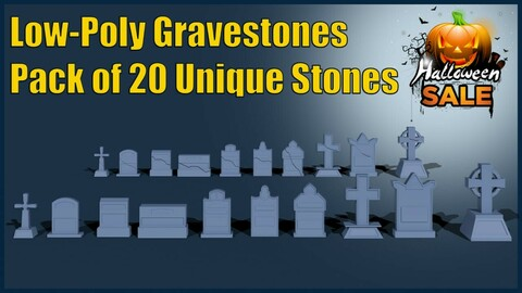Grave Stones Pack Low-Poly (Pack of 20)