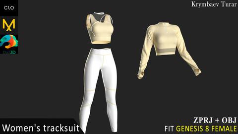 3-Piece Activewear Ensemble. Clo3d, MD projects + OBJ.