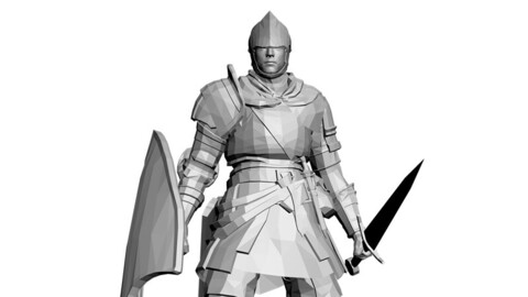 FOOTMAN WITH SWORD AND SHIELD (STL,LOW POLY)