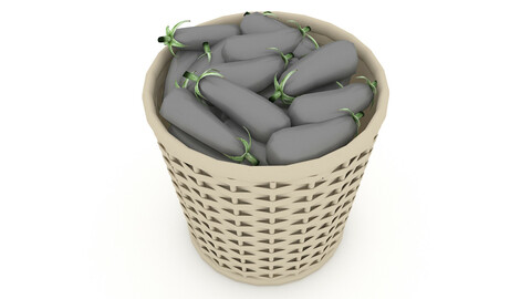 basket eggplant market sale 3D model