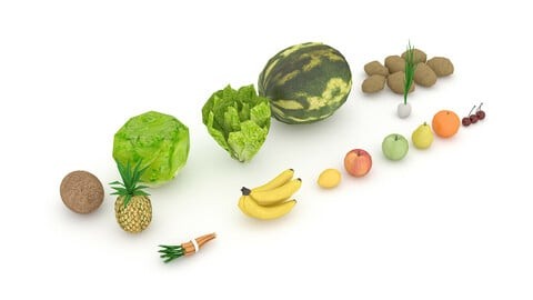 3D mixed fruit and vegetable varieties model