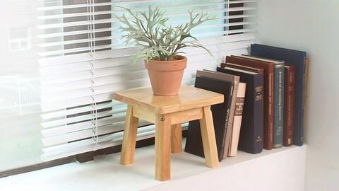 wooden square mini stool