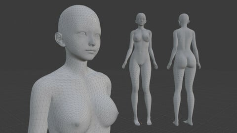[FREE] Female Body Mesh - Blend, FBX, OBJ, GLB, DAE, STL, X3D, PLY, ABC