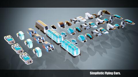 13 Stylized Flying Cars Base Models