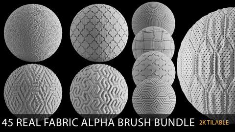 real fabric alpha brush bundle (2k tiff 16 bit tilable)