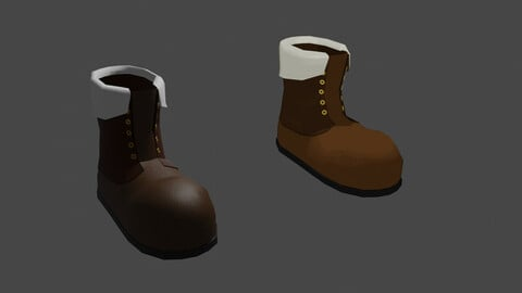 Basic low poly boot rigged with shaders.