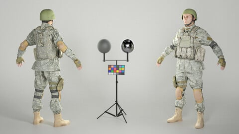 Equipped American soldier ready for animation 309