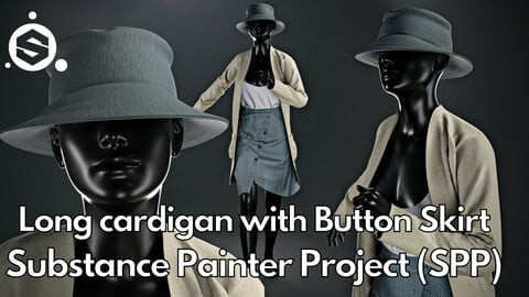 Substance Painter (.SPP) : Long cardigan with button skirt