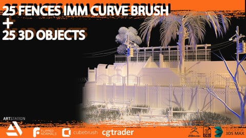 25 fences imm curved brush and 3d assets