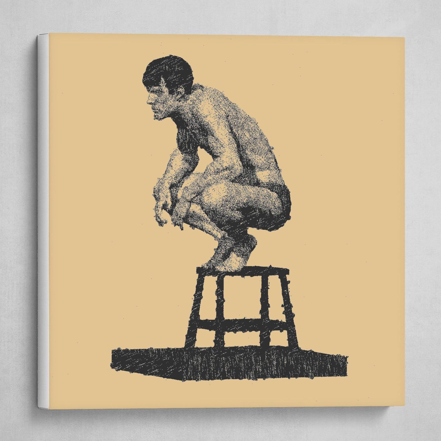 Man crouching beige pastel