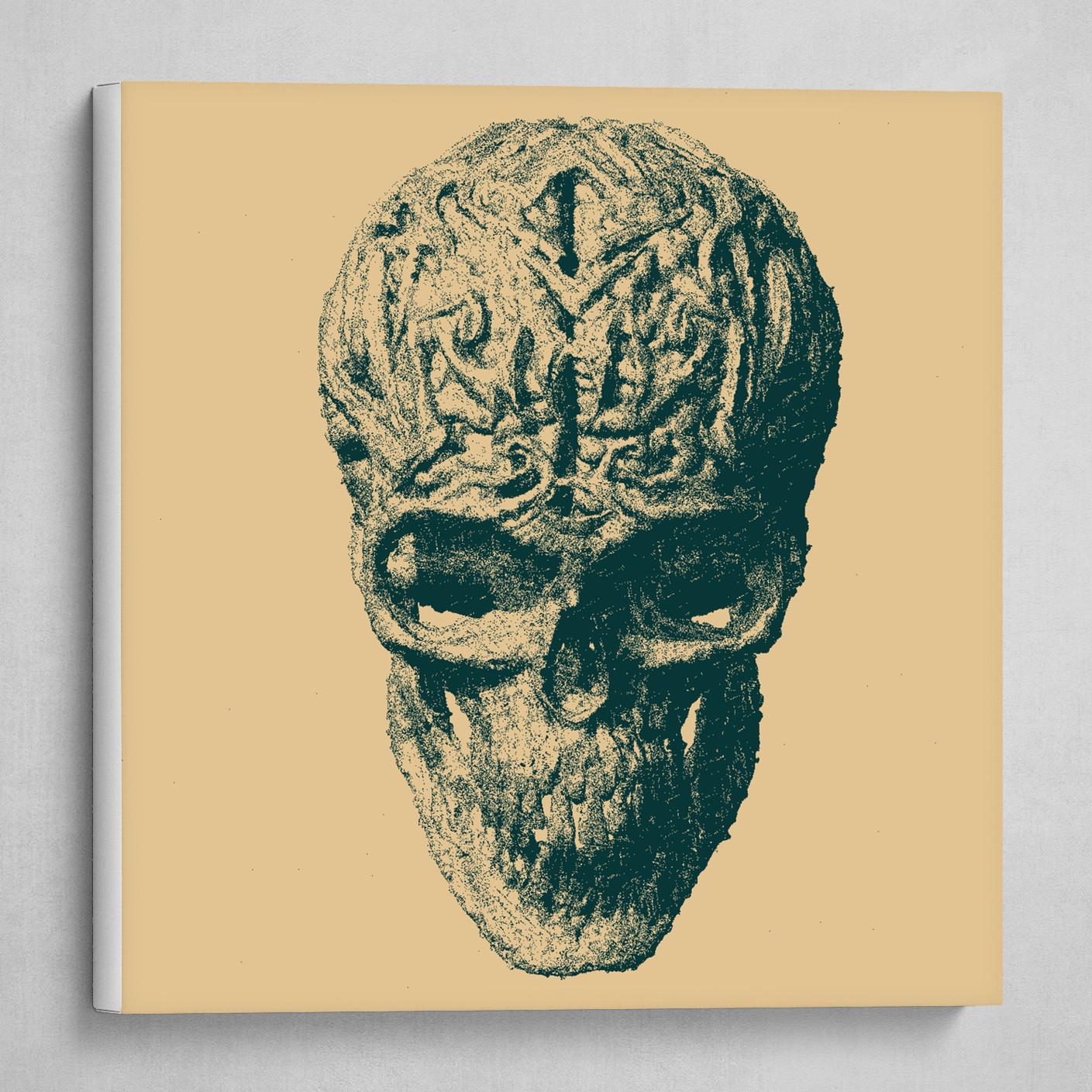 skull with brain green pastel
