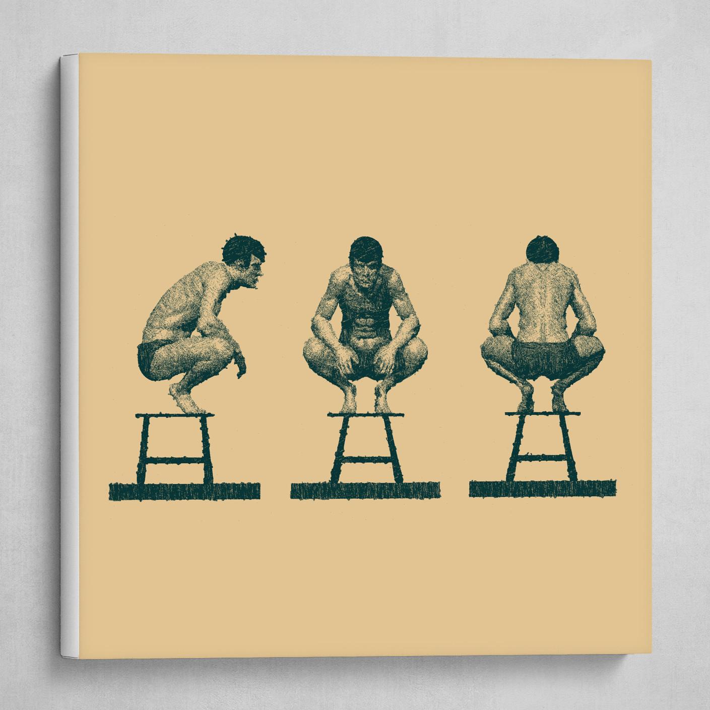 3 man crouching