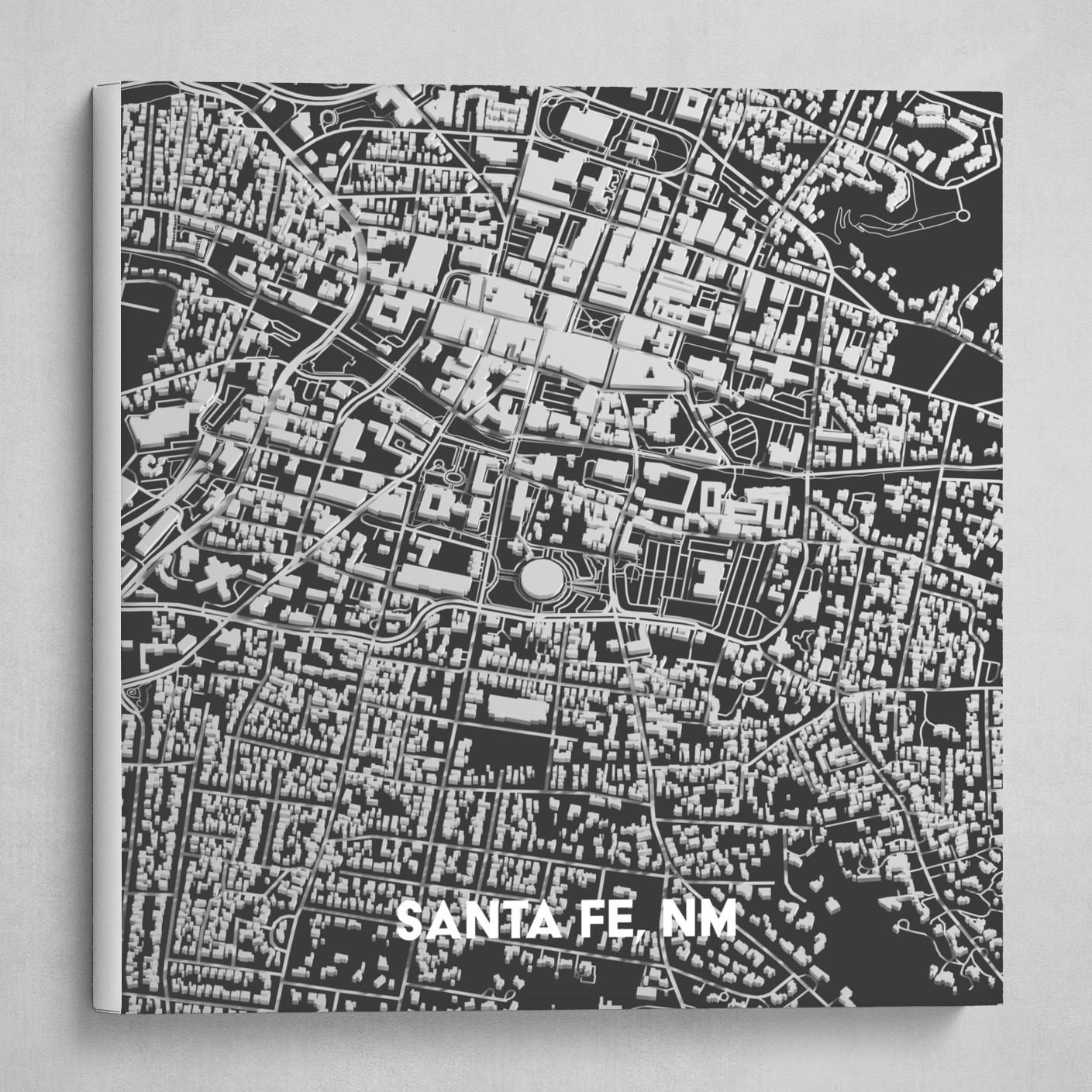 Canvas Santa Fe >> Santa Fe Nm 3d Map Print