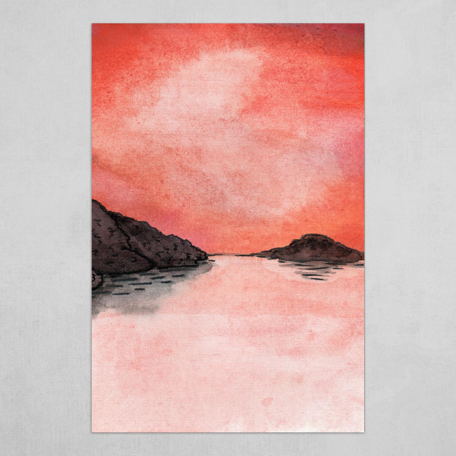 Watercolor Painting Sunset On The Sea Hd Metal Print By Evgeniya Varaksina