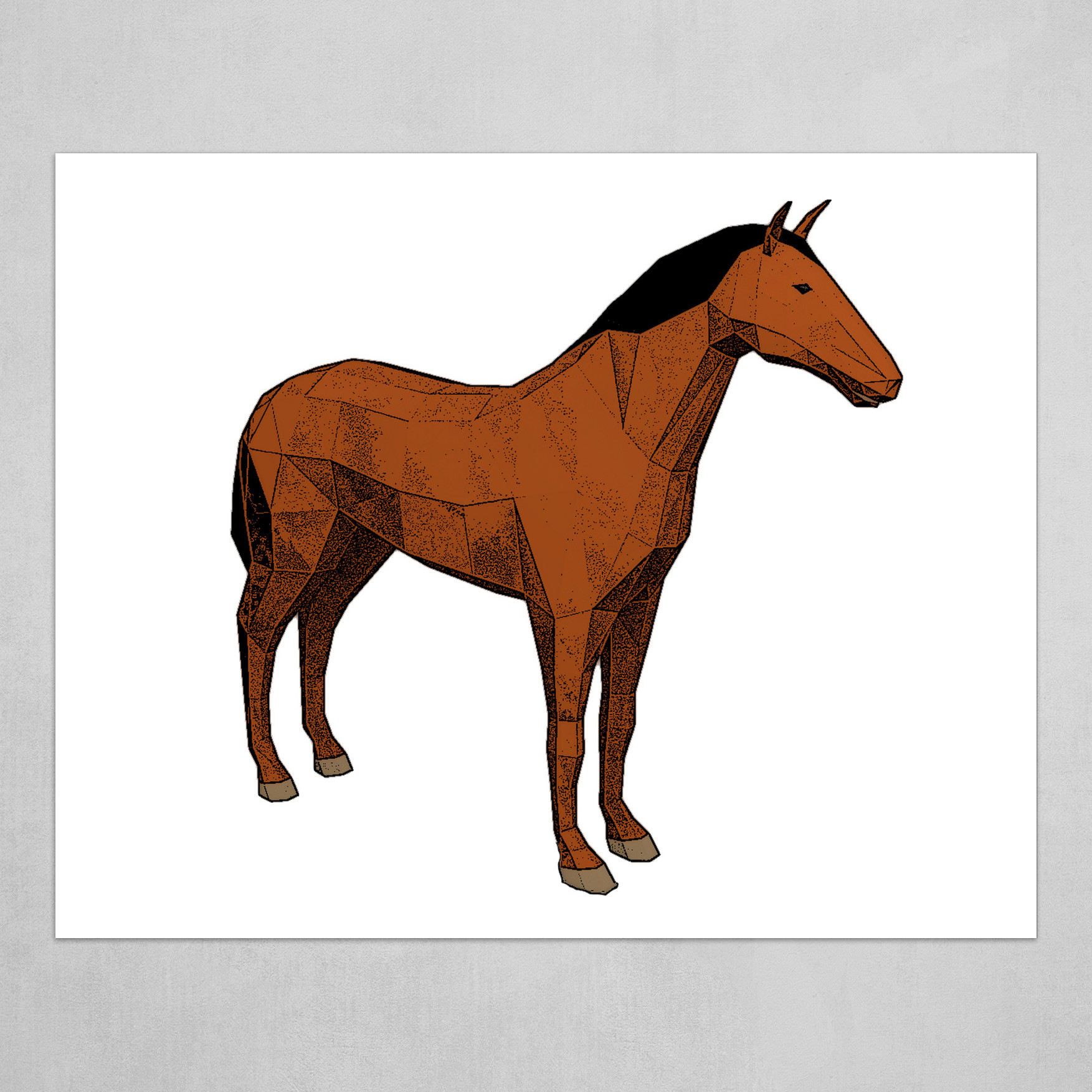 Lowpoly cartoon horse