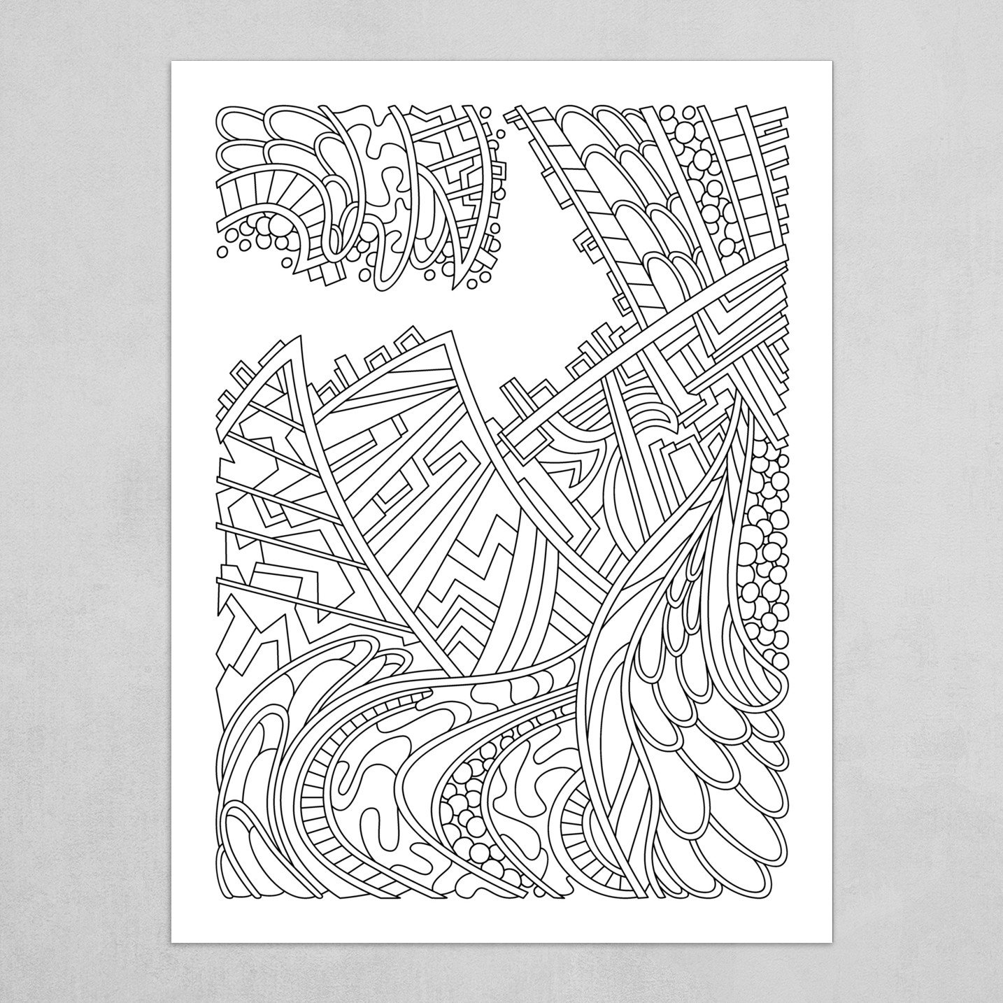 Wandering Abstract Line Art 01: Black & White