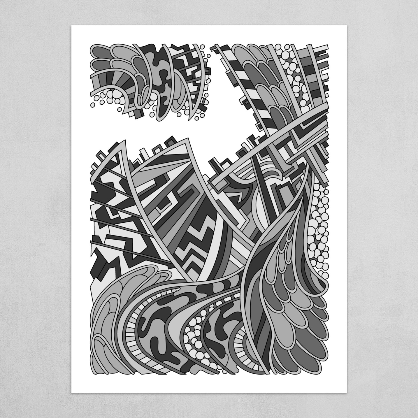 Wandering Abstract Line Art 01: Grayscale